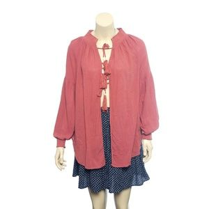 10253 Free People Tassels Cover Up Blouse Top M